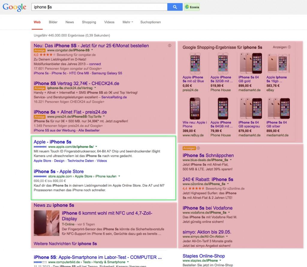 Beispiel Google Suchergebnisse am Beispiel iPhone 5s für XOVILICHTER Beitrag