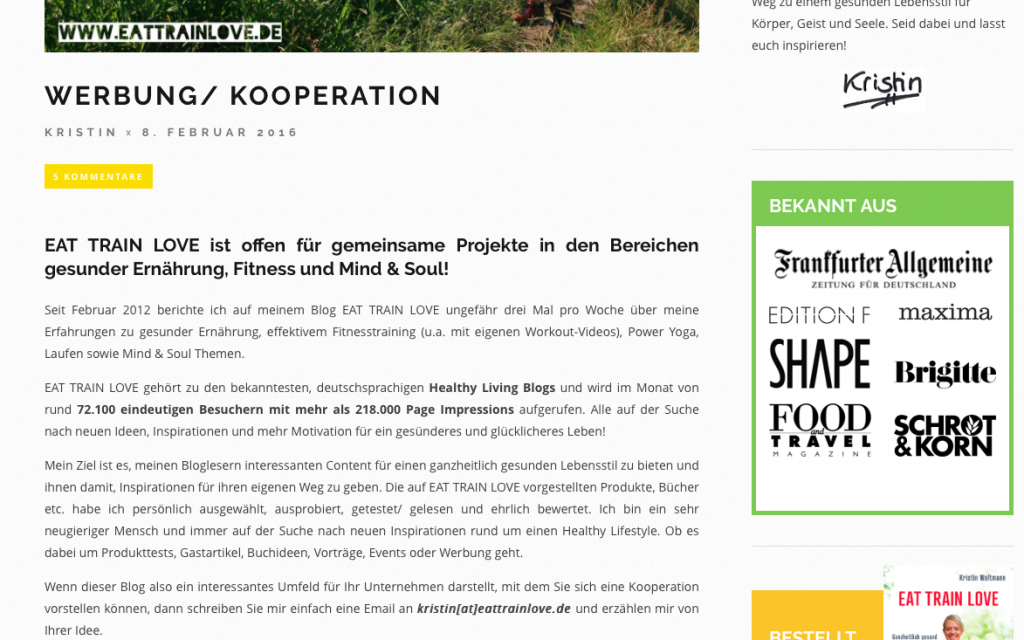 Blogger Relations Kooperationen Eat Train Love
