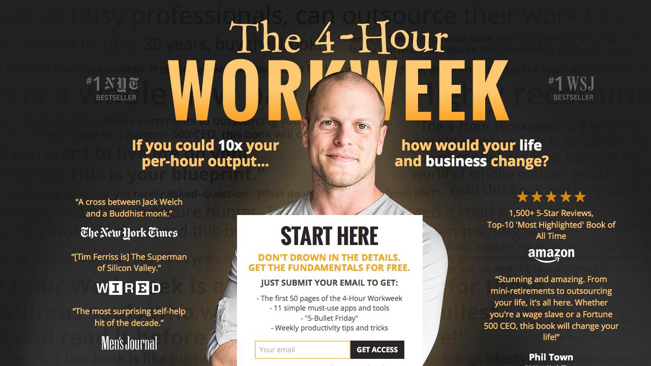 Tim Ferriss Bestseller: The 4-Hour WorkWeek (Die 4-Stunden-Woche: Mehr Zeit, mehr Geld, mehr Leben)